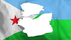 Söndersliten Djibouti flagga royaltyfri illustrationer