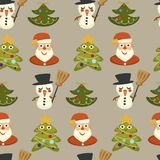 Sörja det vintergröna trädet som dekoreras med girlander och kransvektorn stock illustrationer