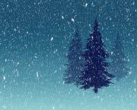 Sörja träd i snönedgångillustration Royaltyfri Foto