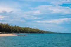 Sörja träd längs stranden och havet på ostkusten av Rayong, Thailand royaltyfria foton