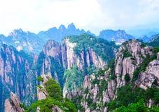 Sörja träd och klippor av det Huangshan gulingberget från det Anhui landskapet Kina arkivbild