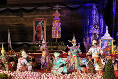 Sörjande ceremoni för Chedi Luang tempelpatriark Arkivfoto