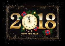Sörjer bakgrund för nytt år 2018 med klockan, gåvaasken, godisrotting, Arkivbild