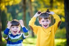 Sörjer den gulliga pysen för sibling som två spelar samman med stora två, kottar utomhus royaltyfria bilder