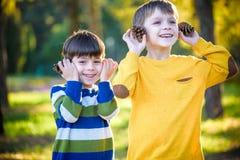 Sörjer den gulliga pysen för sibling som två spelar samman med stora två, kottar utomhus royaltyfri fotografi