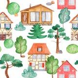 Sörjer den sömlösa modellen för vattenfärgen med hus, träd, stock illustrationer