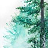 Sörjer den wood skogen för vattenfärgturkosvintern landskap Royaltyfri Bild