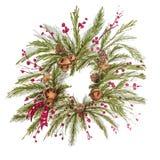 Sörjer garnering för det nya året för julkranstappning med filialer, bär, grankottar vektor illustrationer