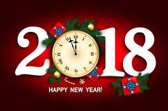 Sörjer kortet för nytt år 2018 med klockan, gåvaasken, godisrotting, branc vektor illustrationer