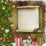Sörjer lyckönsknings- bakgrund för jul med filialer, gåvor, julpynt och stället för text Royaltyfri Bild