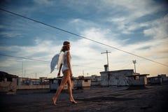Söt ängelflicka Fotografering för Bildbyråer