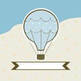Söt ballong för varm luft på en kulör bakgrund Fotografering för Bildbyråer