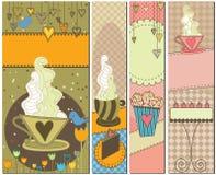 söt banerkaffeefterrätt fyra stock illustrationer
