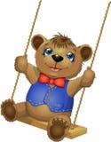 Söt brunbjörn på gunga Arkivbilder