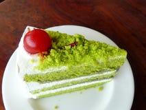 Söt cak för grönt te Royaltyfri Foto