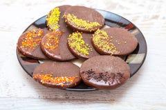 Söt choklad kaka Fotografering för Bildbyråer