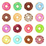 Söt donutsuppsättning vektor illustrationer