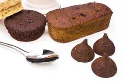 Söt efterrätt för kaka och för choklad Arkivbilder