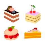 Söt efterrättuppsättning för kaka stock illustrationer