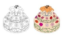 Söt födelsedagkaka med rosor och liljan vektor illustrationer
