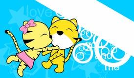 Söt förälskelse behandla som ett barn för tigertecknade filmen för pojken och för flickan kyssande bakgrund Fotografering för Bildbyråer