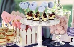 Söt feriebuffé med muffin och tiramisuexponeringsglas royaltyfri fotografi
