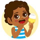 Söt glass för svart flicka royaltyfri illustrationer