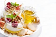 söt grekisk yoghurt med honung, hallon och nya fikonträd fotografering för bildbyråer