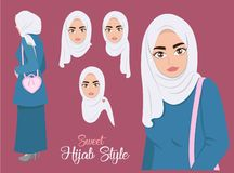 Söt Hijab stil stock illustrationer