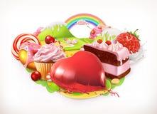 söt hjärta Konfekt och efterrätter, vektorillustration vektor illustrationer