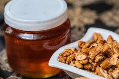 Söt honung och valnötter Fotografering för Bildbyråer