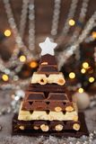 Söt julgran Chokladjulgran arkivfoton