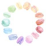 Söt kaka för färgrik blandad makron stock illustrationer
