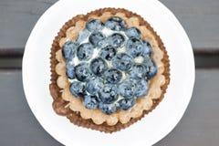 Söt kaka med blåbär fotografering för bildbyråer