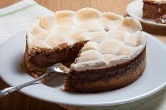 Söt kaka med choklad på en ljus trätabell Selektiv foc Royaltyfria Foton