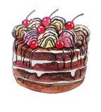 Söt kaka med körsbär Arkivfoton
