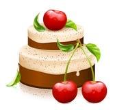 Söt kaka med mogna körsbär Arkivbilder