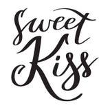 Söt kyss - hand-skriftlig text, typografi, kalligrafi som märker vektor illustrationer