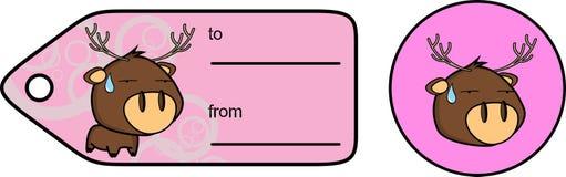 Söt liten knubbig klistermärke för giftcard för hjorttecknad filmexprression Arkivbild
