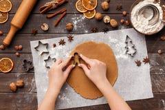 Söt mat för ferie Kvinna som lagar mat pepparkakakakor royaltyfri fotografi