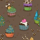 Söt muffinmodell vektor illustrationer