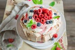 Söt och krämig Pavlova kaka med bär och maräng arkivbild