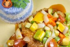 Söt och sur fisk med purpurfärgade ris Arkivbild