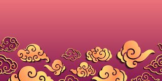 Söt orientalisk molnig sömlös bakgrund royaltyfri illustrationer