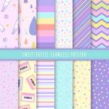 Söt pastellfärgad sömlös modellsamling Ställ in av färgrik bakgrund 12 med pricken, bandet och enkelt symbol Kawaii modeller vektor illustrationer