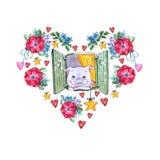 Söt piggy mall för vattenfärg med blommor royaltyfri illustrationer