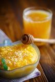 Söt pumpahavregröt med honung- och sesamfrö Royaltyfri Bild