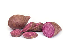 Söt purpurfärgad potatis royaltyfri fotografi