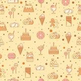 Söt sömlös modell med muffin, godisen, klubban och andra bagerifoods också vektor för coreldrawillustration Arkivbild