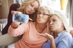 Söt selfie med min familj Royaltyfri Bild